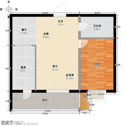 曼哈顿水岸公馆1室0厅1卫1厨81.00㎡户型图