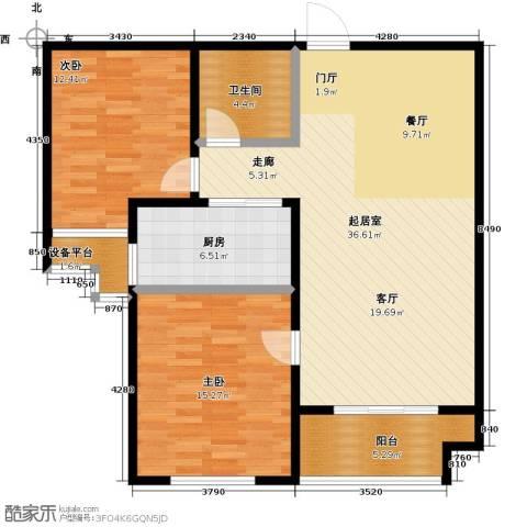 中基碧域2室0厅1卫1厨92.00㎡户型图