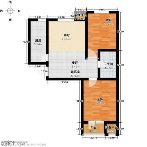 耀华心领寓2室0厅1卫1厨87.00㎡户型图