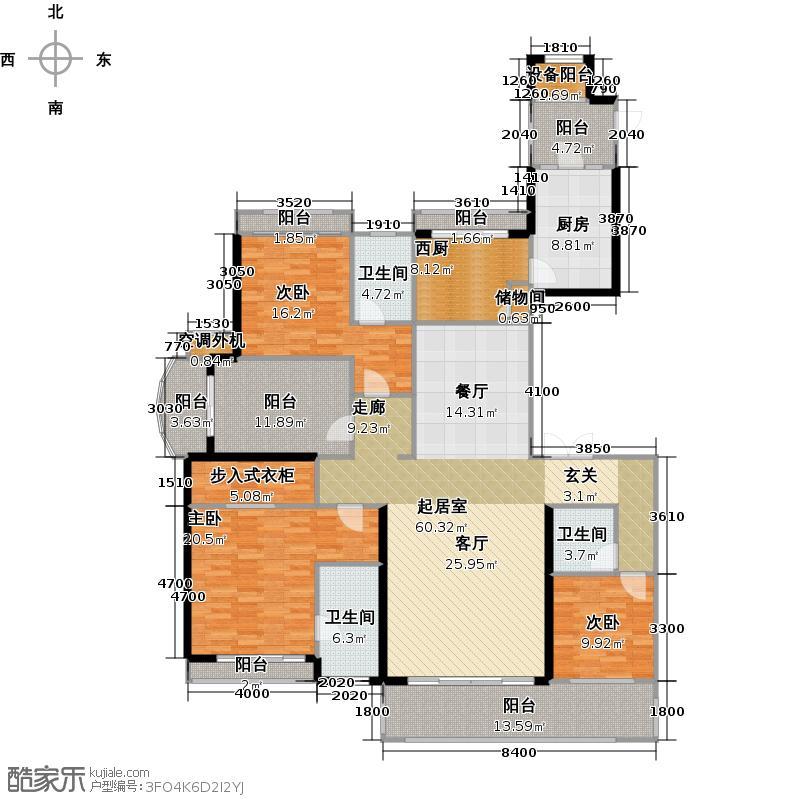 长安天玺5、8#楼户型3室3卫1厨