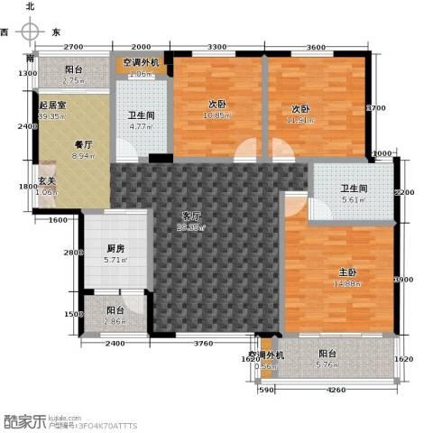 金星阳光格林3室0厅2卫1厨133.00㎡户型图