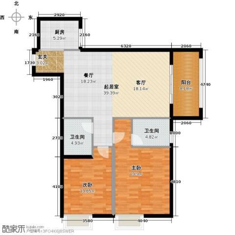 馨雅园2室0厅2卫1厨107.00㎡户型图