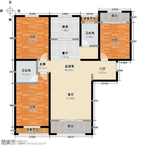 中基碧域3室0厅2卫1厨138.00㎡户型图
