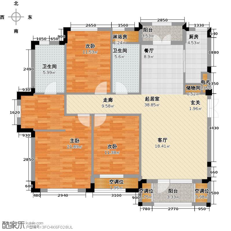 保利西山林语130.00㎡D3户型 3室2厅2卫户型3室2厅2卫