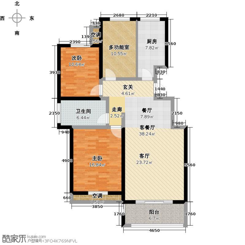 中国铁建・原香漫谷110.30㎡E户型三室两厅一卫110.3㎡户型3室2厅1卫