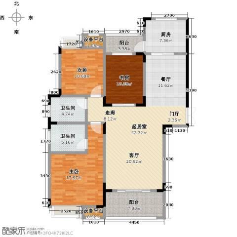 大润发广场3室0厅2卫1厨126.00㎡户型图