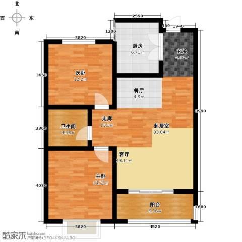 桃园丽�城2室0厅1卫1厨88.00㎡户型图