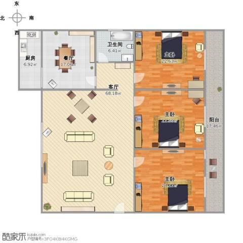 玫瑰花园3室2厅1卫1厨244.00㎡户型图