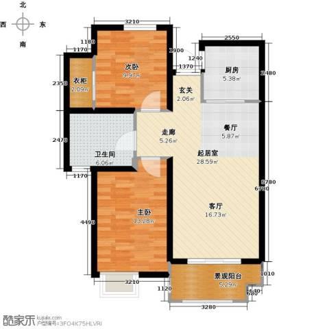 金榜府邸2室0厅1卫1厨99.00㎡户型图
