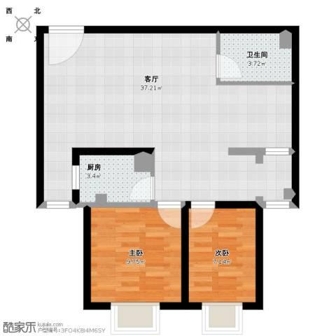 锦尚名城2室1厅1卫1厨88.00㎡户型图