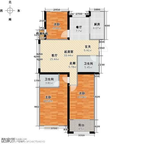 金榜府邸3室0厅2卫1厨130.00㎡户型图