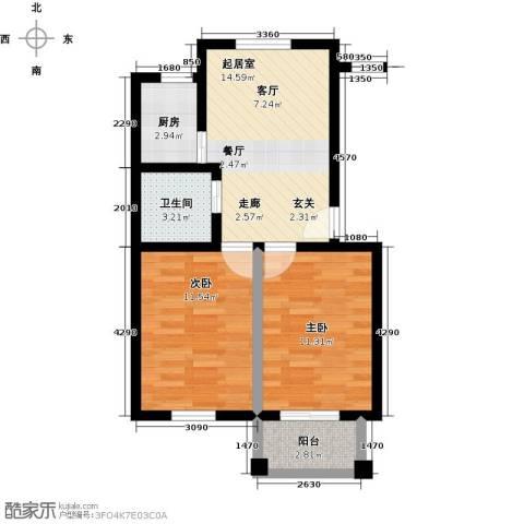 五洲太阳城2室0厅1卫1厨68.00㎡户型图