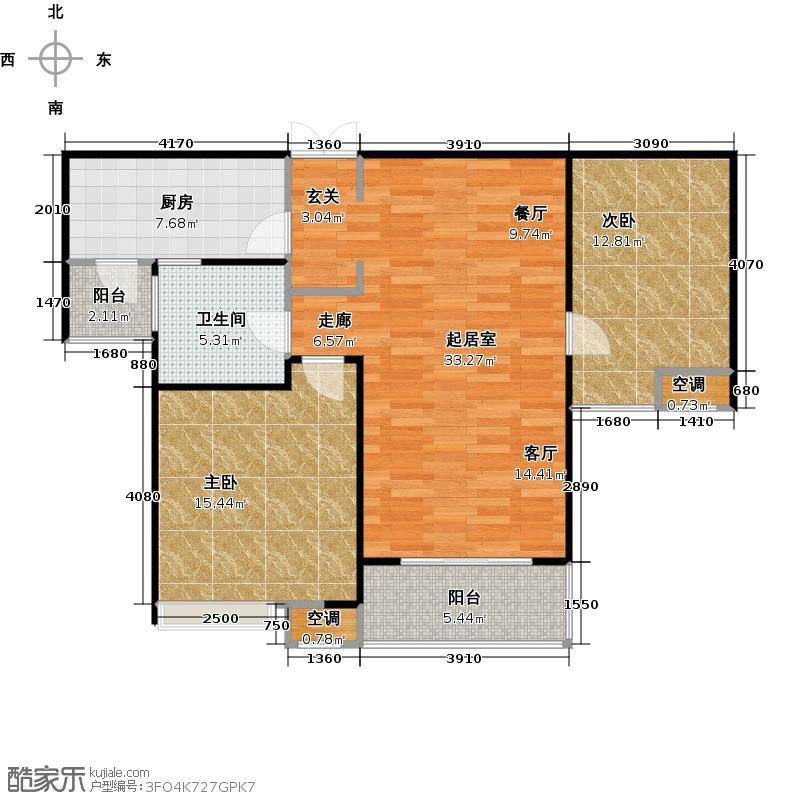 金塘园92.00㎡C2户型2室2厅1卫