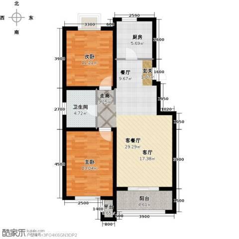 西溪诚园2室1厅1卫1厨96.00㎡户型图