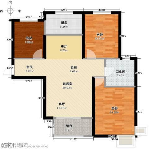 金屋秦皇半岛3室0厅1卫1厨112.00㎡户型图