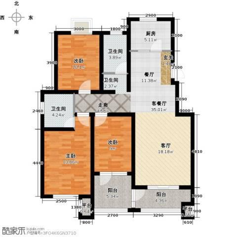 西溪诚园3室1厅2卫1厨125.00㎡户型图