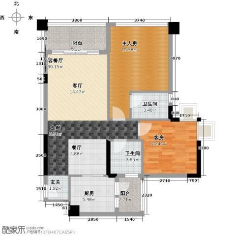 盈悦豪庭1厅2卫1厨87.00㎡户型图