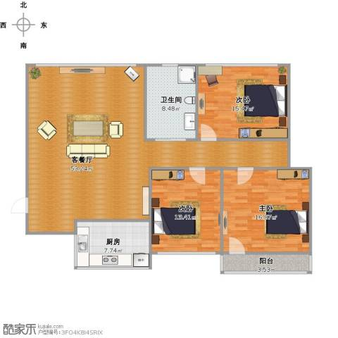 发祥福邸3室1厅1卫1厨158.00㎡户型图