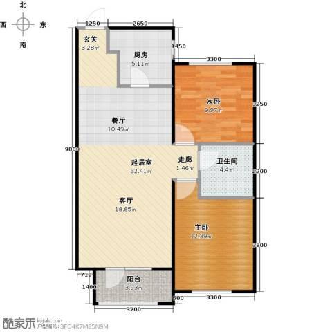华润凯旋门2室0厅1卫1厨90.00㎡户型图