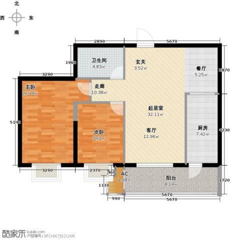曼哈顿水岸公馆2室0厅1卫1厨89.00㎡户型图