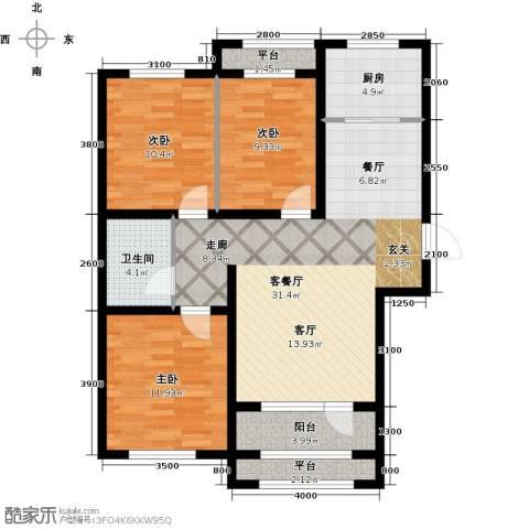 紫林湾3室1厅1卫1厨118.00㎡户型图