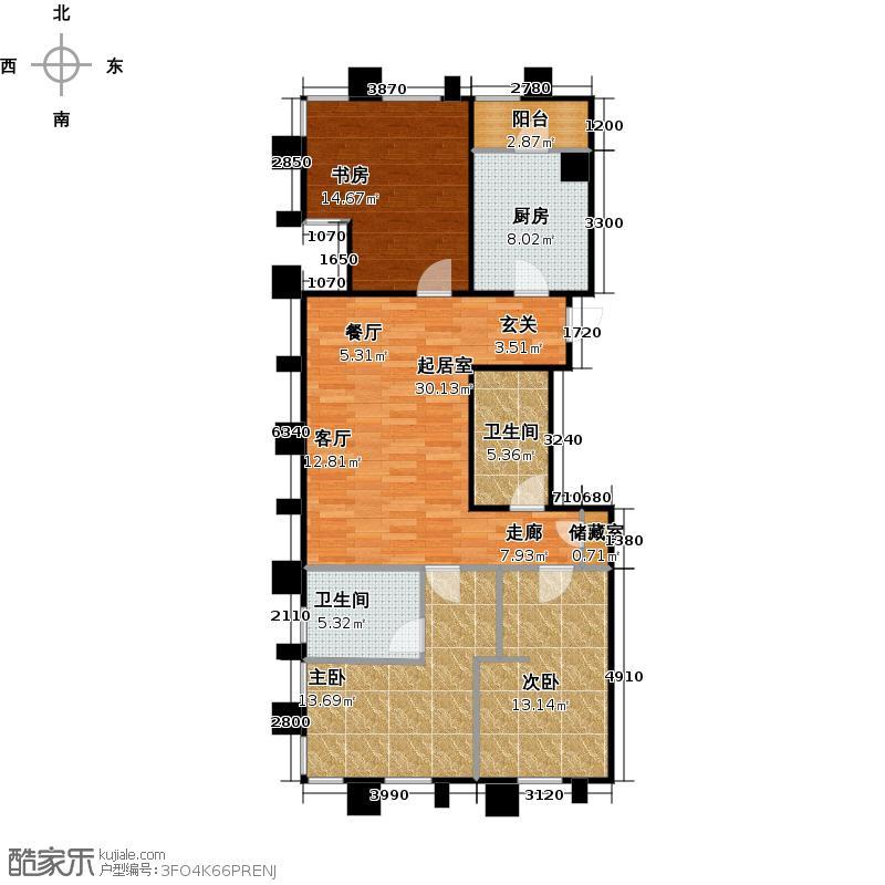 海河华鼎117.91㎡C1 三室二厅二卫 117.91户型3室2厅2卫