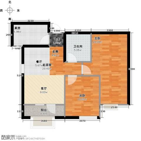 亚泰津澜2室0厅1卫1厨88.00㎡户型图