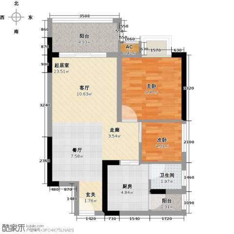 七彩城2室0厅1卫1厨73.00㎡户型图