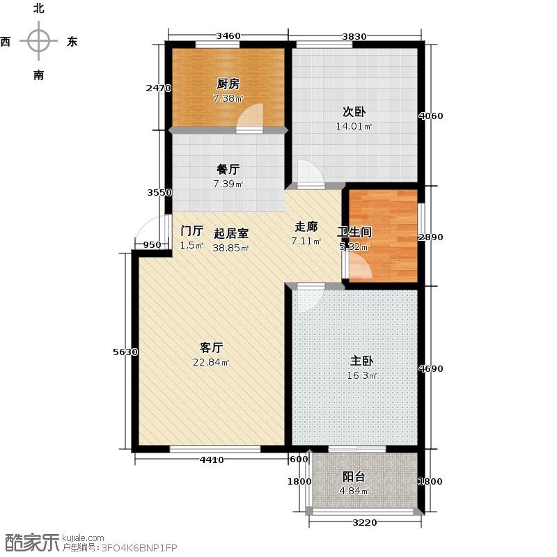 奥翔园95.86㎡二室二厅一卫一厨户型2室2厅1卫