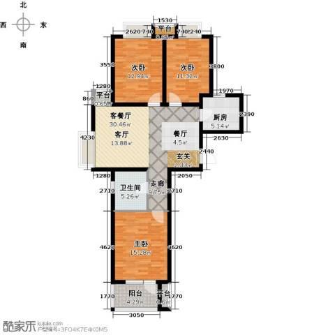 幸福城3室1厅1卫1厨124.00㎡户型图