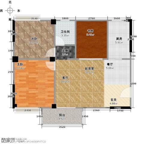 润恒国华瑞景3室0厅1卫1厨93.00㎡户型图