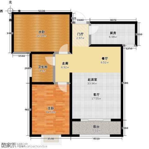 绿朗时光2室0厅1卫1厨91.00㎡户型图