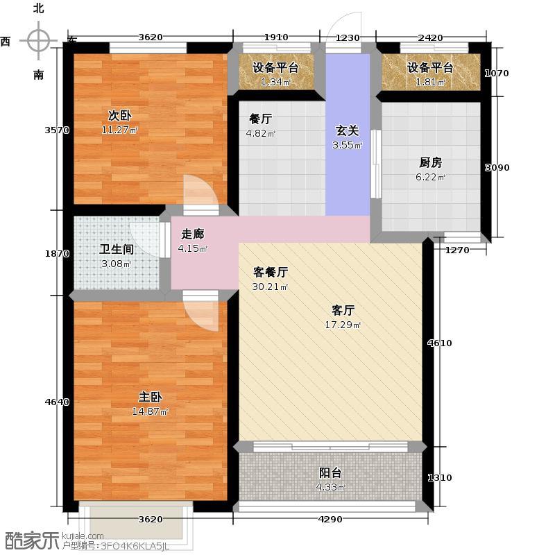 紫熙东苑户型2室1厅1卫1厨