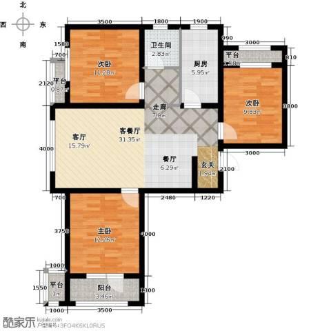 紫林湾3室1厅1卫1厨115.00㎡户型图