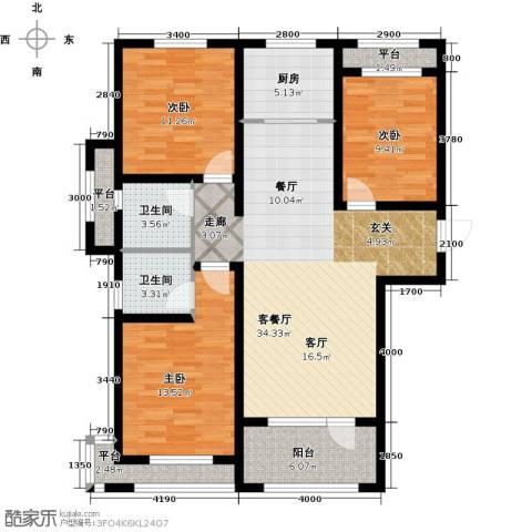 紫林湾3室1厅2卫1厨130.00㎡户型图