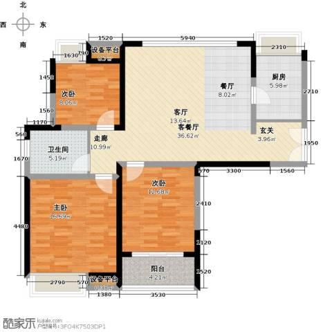 金海名园3室1厅1卫1厨108.00㎡户型图