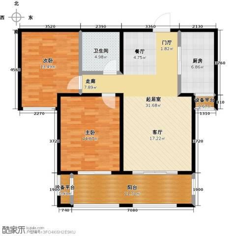 中基碧域2室0厅1卫1厨96.00㎡户型图