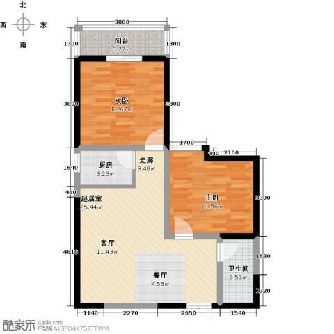 汉庭香榭2室0厅1卫1厨87.00㎡户型图