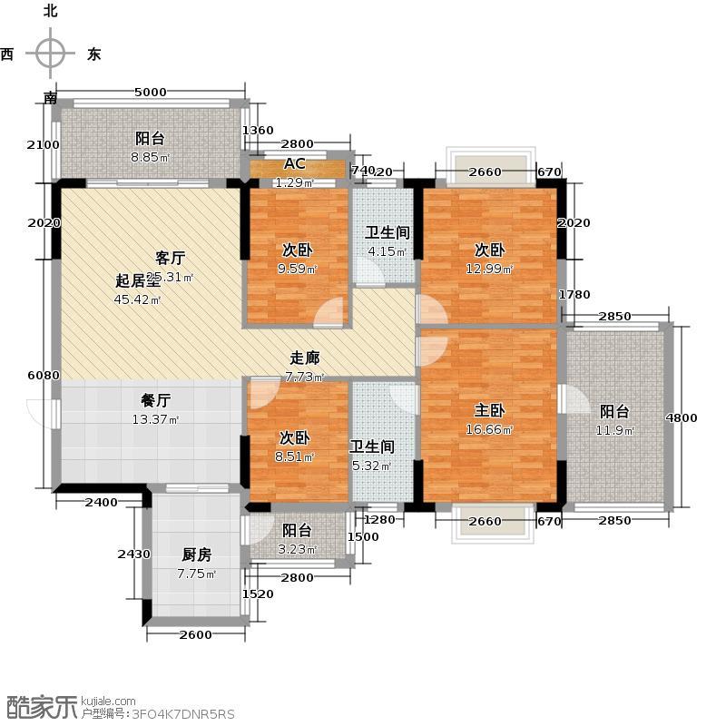 公庄山水花园157.60㎡1号楼B01户型4室2厅2卫1厨户型4室2厅2卫
