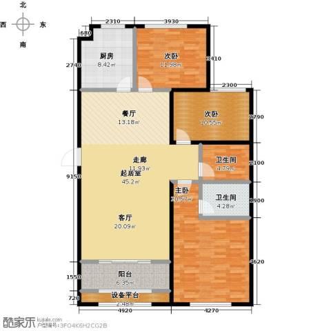 中基碧域3室0厅2卫1厨129.00㎡户型图