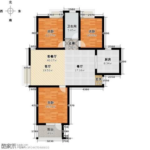 幸福城3室1厅1卫1厨110.00㎡户型图