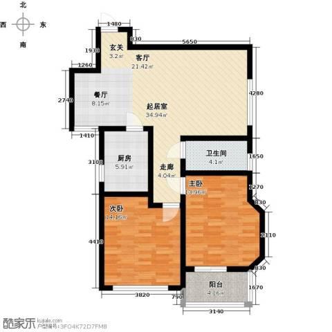 五洲太阳城2室0厅1卫1厨92.00㎡户型图