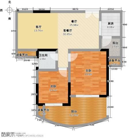 东方巴黎2室1厅1卫1厨112.00㎡户型图