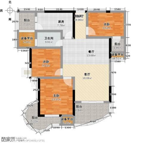 东方巴黎3室1厅1卫1厨144.00㎡户型图