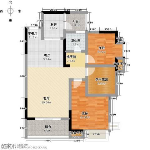 顺祥南洲1号2室1厅1卫1厨91.00㎡户型图