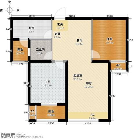 东方今典2室0厅1卫1厨91.00㎡户型图