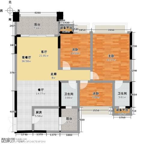 君汇尚品3室1厅2卫1厨114.00㎡户型图