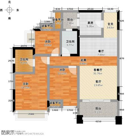 君汇尚品3室1厅2卫1厨102.00㎡户型图