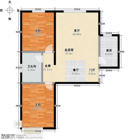 绿朗时光2室0厅1卫1厨89.00㎡户型图