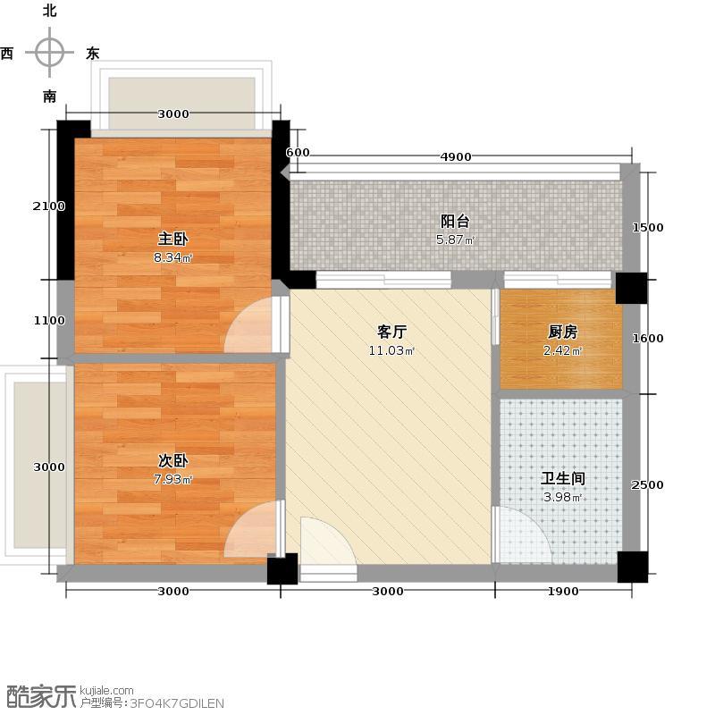 向日葵公寓户型2室1厅1卫1厨